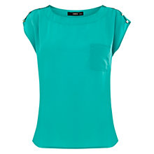 Buy Oasis Button Shoulder T-Shirt, Pale Green Online at johnlewis.com