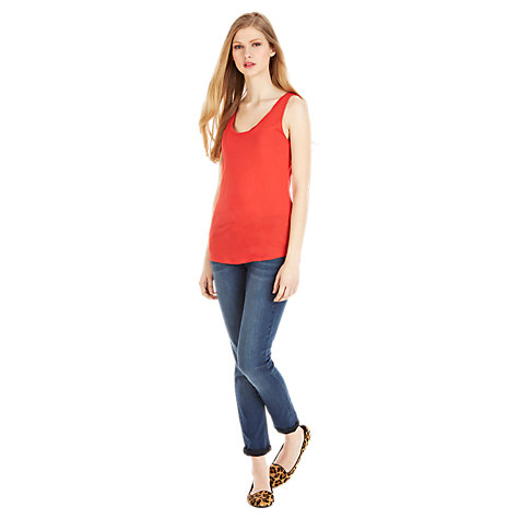 Buy Oasis Twist Detail Vest, Mid Red Online at johnlewis.com