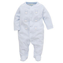 Buy John Lewis Bunny Stripe Velour Sleepsuit, Blue Online at johnlewis.com