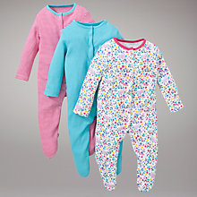 Buy John Lewis Baby Posey Sleepsuits, Pack of 3, Turquoise/Pink Online at johnlewis.com