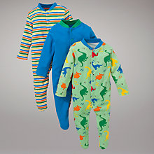 Buy John Lewis Baby Dinosaur Stripe Sleepsuit, Pack of 3, Green/Multi Online at johnlewis.com
