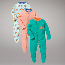 Buy John Lewis Baby Tiger Stripe Sleepsuit, Pack of 3, Green/Orange Online at johnlewis.com