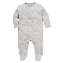 Buy John Lewis Bunny Velour Sleepsuit, Grey Online at johnlewis.com