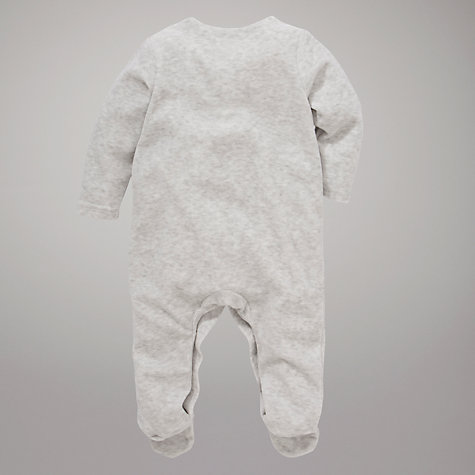 Buy John Lewis Baby Bunny Velour Sleepsuit, Grey Online at johnlewis.com