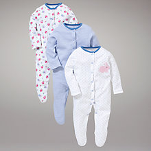 Buy John Lewis Floral Bunny Sleepsuits, Pack of 3, Blue Online at johnlewis.com