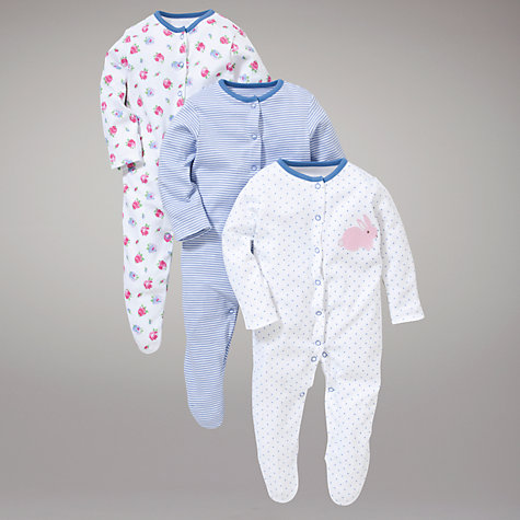 Buy John Lewis Floral Bunny Sleepsuits, Pack of 3, Blue/Pink Online at johnlewis.com