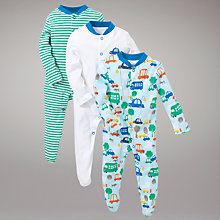 Buy John Lewis Baby Busy Cars Sleepsuits, Pack of 3, Green/Blue Online at johnlewis.com