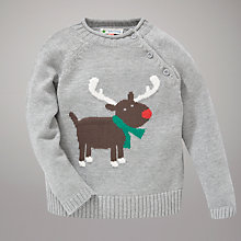 Buy John Lewis Reindeer Jumper, Grey/Multi Online at johnlewis.com