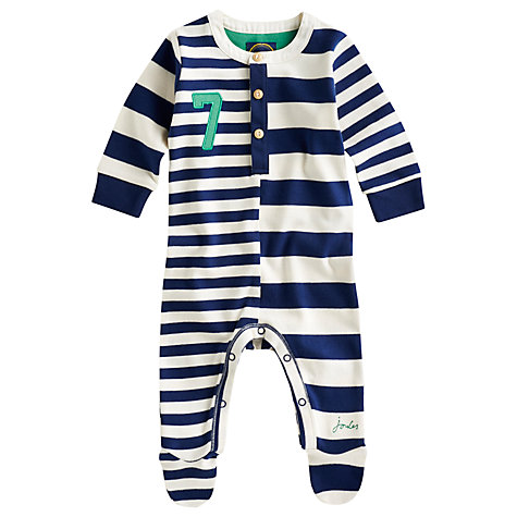 Buy Baby Joule Hobart Stripe Sleepsuit, Navy Online at johnlewis.com