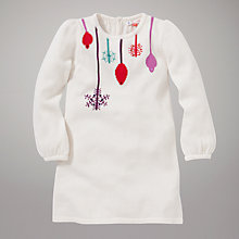 Buy John Lewis Bauble Long Sleeve Dress, Cream Online at johnlewis.com
