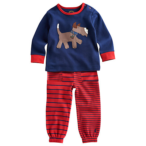 Buy Baby Joule Byron Dog Stripe Top and Trouser Set, Red/Blue Online at johnlewis.com