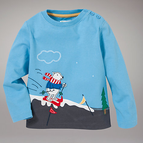 Buy John Lewis Polar Bear Long Sleeve Top, Blue/Multi Online at johnlewis.com