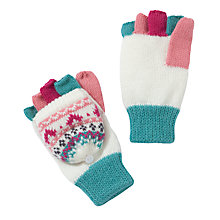 Buy John Lewis Girl Pretty Fair Isle Flip Gloves, Pink Online at johnlewis.com