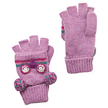 Buy John Lewis Girl Owl Flip Gloves, Pink Online at johnlewis.com