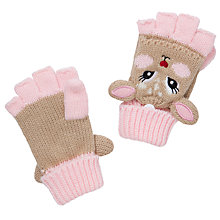 Buy John Lewis Girl Deer Fliptop Gloves, Fawn/Pink Online at johnlewis.com
