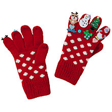 Buy John Lewis Girl Christmas Novelty Gloves, Red Online at johnlewis.com