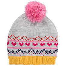 Buy John Lewis Girl Fair Isle Heart Hat, Grey/Multi Online at johnlewis.com