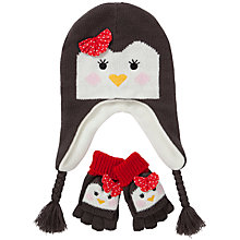 Buy John Lewis Girl Penguin Hat & Gloves Set, Charcoal Online at johnlewis.com