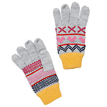 Buy John Lewis Girl Simple Stripe Gloves, Grey/Multi Online at johnlewis.com
