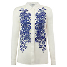 Buy Hobbs Ariad Shirt, White China Blue Online at johnlewis.com