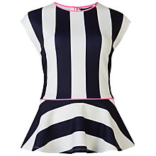 Buy Ted Baker Kimbrly Striped Peplum Top, Ecru Online at johnlewis.com