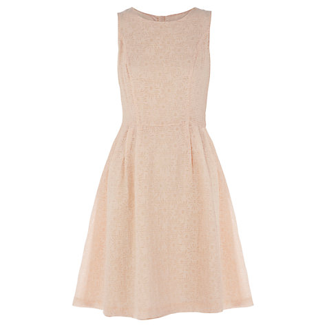 Buy Warehouse Jacquard Bow Back Dress, Cream Online at johnlewis.com