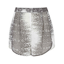 Buy Reiss Morgan Gecko Print Silk Shorts, Black Online at johnlewis.com
