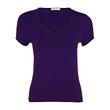 Buy Precis Petite Pleat Front Top, Purple Online at johnlewis.com