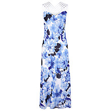 Buy Jacques Vert Crossover Strap Floral Dress, Blue Online at johnlewis.com