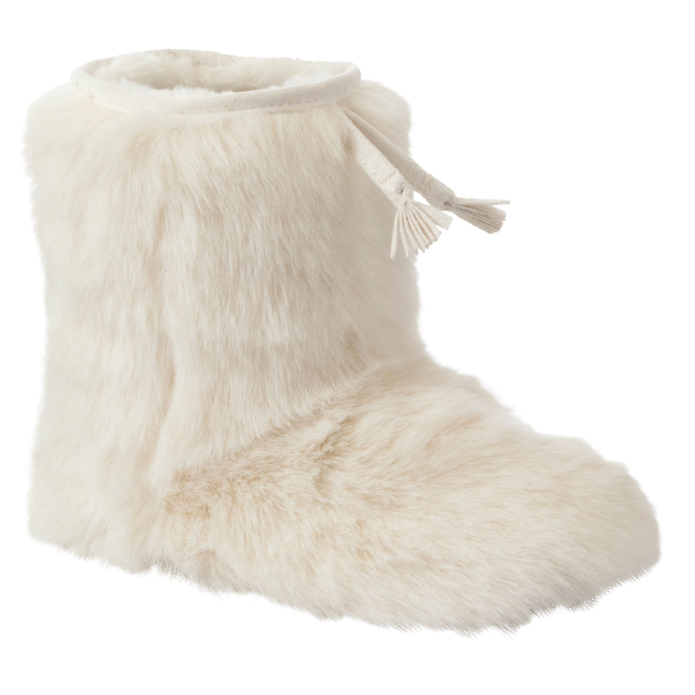 John Lewis Girl Furry Slipper Boots, White