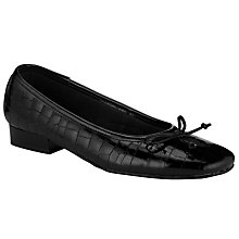 Buy John Lewis Winnie Crocodile Print Ballet Pumps, Black Online at johnlewis.com
