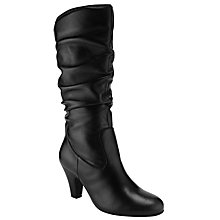 Buy John Lewis Gloria Ruched Calf Boots, Black Online at johnlewis.com