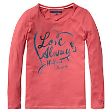 Buy Tommy Hilfiger Girls' Love Long Sleeved Top, Pink Online at johnlewis.com