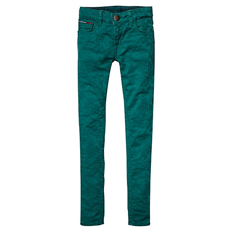 Buy Tommy Hilfiger Girls' Jaquard Flower Jeans, Green Online at johnlewis.com