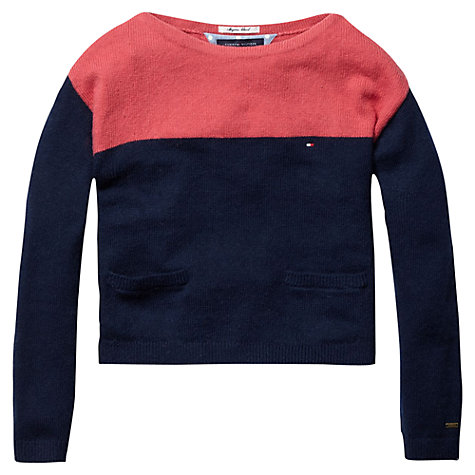 Buy Tommy Hilfiger Girls' Cropped Colour Block Jumper, Navy/Coral Online at johnlewis.com