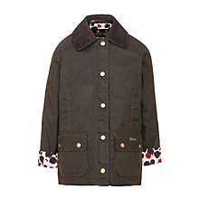 Buy Barbour Girls' Printed Beadnell Waxed Jacket, Khaki Online at johnlewis.com
