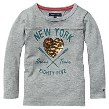 Buy Tommy Hilfiger Girls' Long Sleeved Heart Sequin Jumper, Grey Heather Online at johnlewis.com