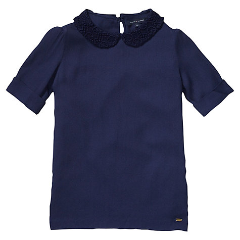 Buy Tommy Hilfiger Girls' Georgette Peter Pan Collar Top, Navy Online at johnlewis.com