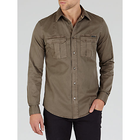 Buy Armani Jeans Double Pocket Utility Shirt, Brown Online at johnlewis.com
