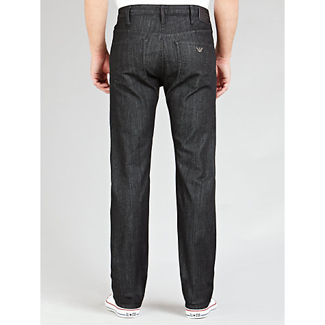 Buy Armani Jeans Button Straight Jeans, Black Online at johnlewis.com