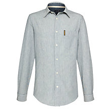 Buy Armani Jeans Fine Stripe Shirt, Blue/White Online at johnlewis.com