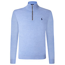 Buy Polo Golf by Ralph Lauren Merino Wool Zip Jumper, Periwinkle Blue Online at johnlewis.com
