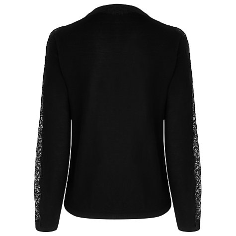 Buy L.K. Bennett Lace Panel Cardigan, Black Online at johnlewis.com