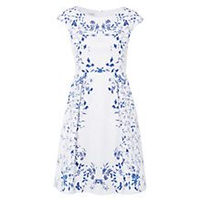 Buy Hobbs Dorset Flared Dress, White China Blue Online at johnlewis.com