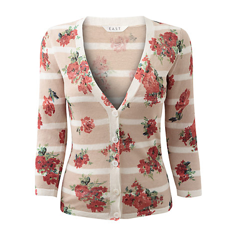Buy East Floral Linen Cardigan, Jute Online at johnlewis.com