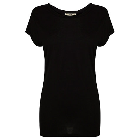 Buy Oasis Twist Neck T-Shirt, Black Online at johnlewis.com