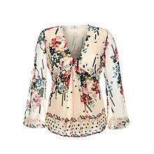 Buy Hoss Intropia Abstract Print Blouse, Stone Online at johnlewis.com
