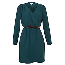Buy Hoss Intropia Long Sleeve Wrap Belted Dress, Petroleum Online at johnlewis.com