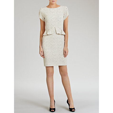 Buy Hoss Intropia Dot Peplum Dress, Ivory Online at johnlewis.com