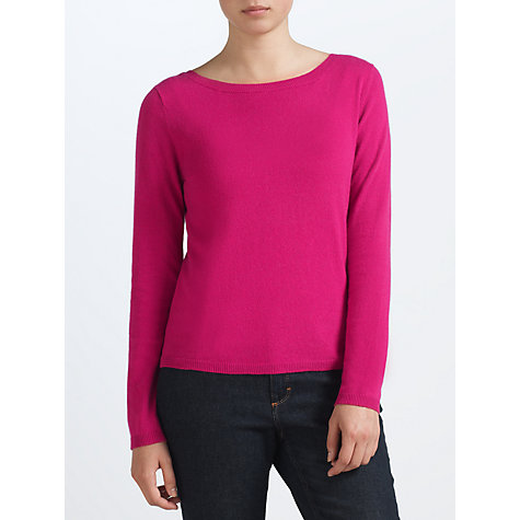 Buy John Lewis Slash Neck Sweater, Cerise Online at johnlewis.com